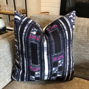 NEW Vintage Indigo and Pink Hmong Pillow Cover